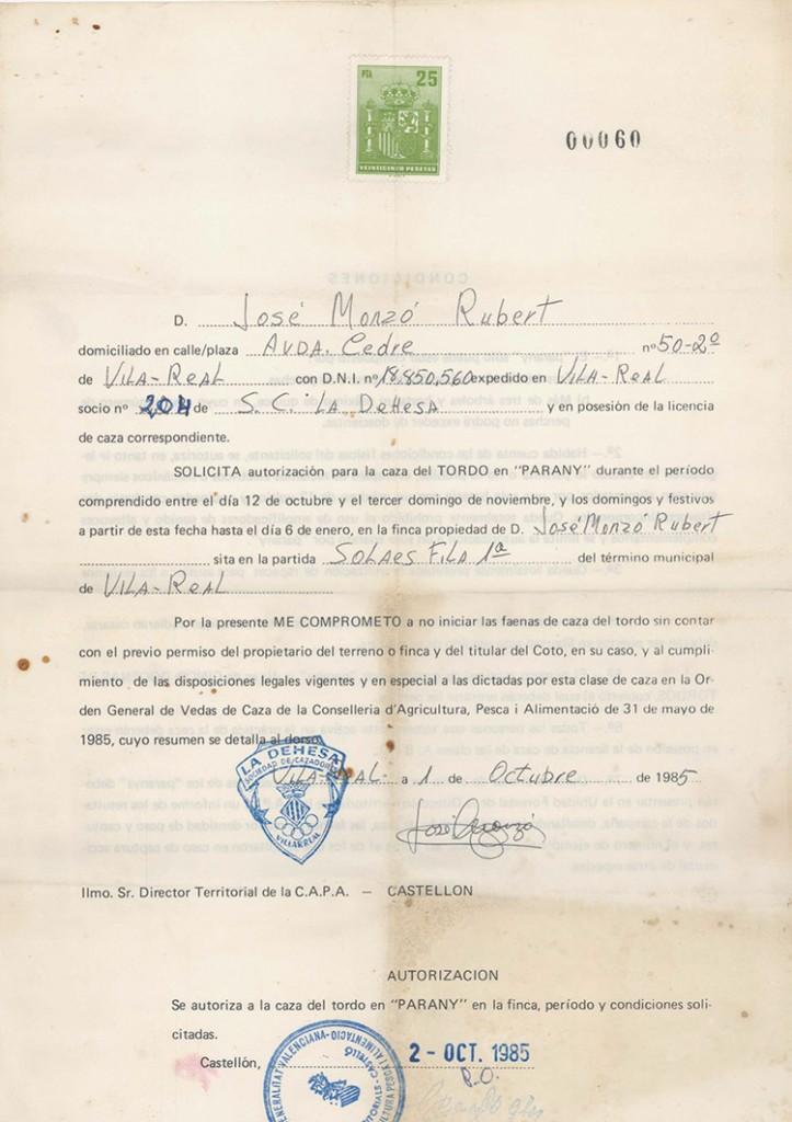 Autorización de caza de Tordo en Parany 1985