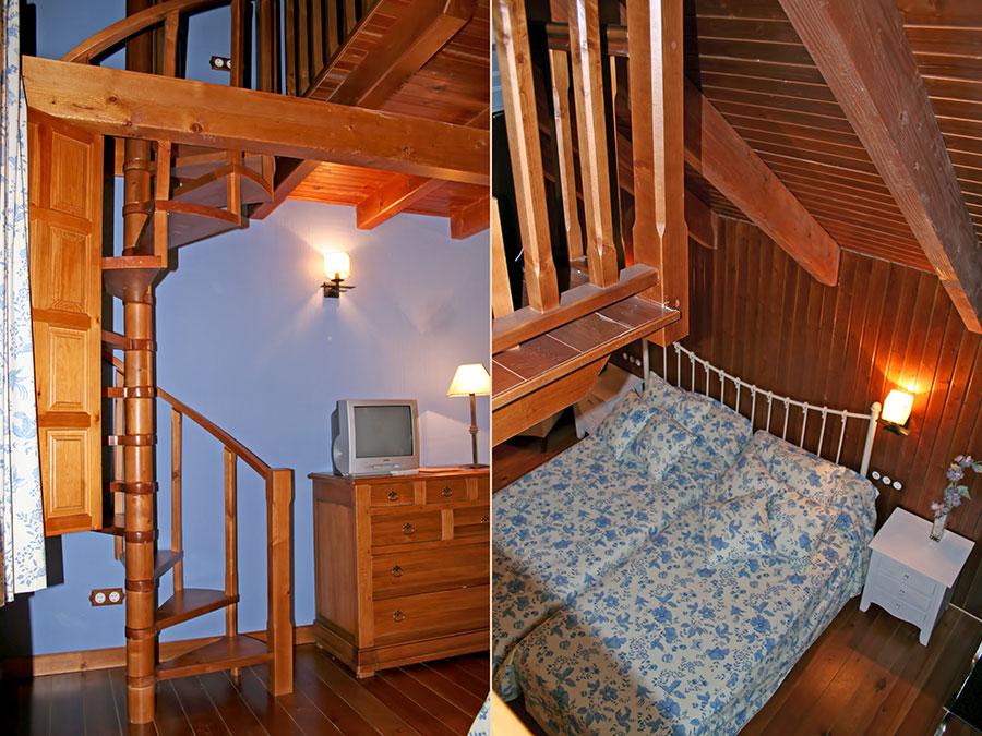Detalle de la escalera interior y vista superior de la cama principal